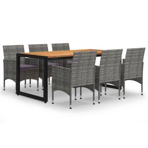 Gartenmöbel Essgruppe 6 Personen ,7-TLG. Terrassenmöbel Balkonset Sitzgruppe: Tisch mit 6 Stühle, Grau❀1343