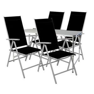 5-teiliges Campingmöbel Set höhenverstellbar Aluminium Textilen schwarz