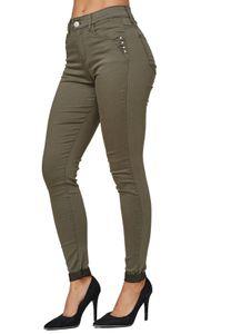 Damen Denim Super Stretch Jeans Skinny Fit Röhrenjeans Big Size Hose Übergröße Strass, Farben:Khaki, Größe:40
