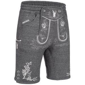 PAULGOS Herren Trachten Jogginghose - Design Trachten Lederhose - JOK3 - in 3 Farben erhältlich - Größe S - 5XL, Farbe:Dunkelgrau, Größe:3XL
