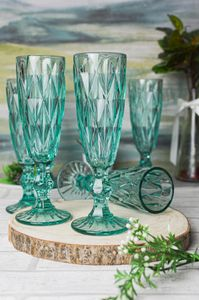 6 Blaue Sektgläser mit Schliff Sektkelche Champagner Prosecco Sektglas Proseccoglas