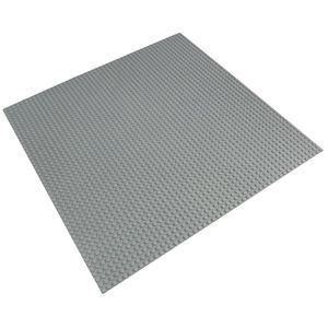 Platte 40cm x 40cm / 50x50 Pins, Große Grund- Bauplatte für Lego, Q-Bricks, MY, Sluban kompatibel, Grund-Platte, Hell-Grau für Straße, Boden