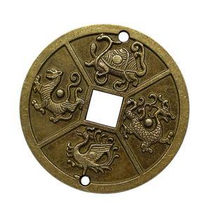 2pcs Chinesische Alte Kupfer Münze Gott Beast Glück Münzen Amulett Charms Sammlerstücke
