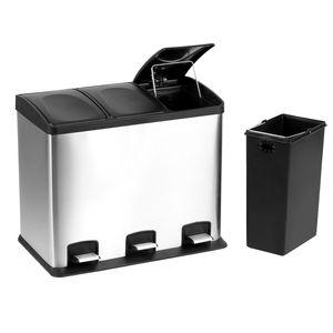 Küchen Edelstahl Abfalleimer   Mülleimer   Treteimer   3x12 Liter Inneneimer