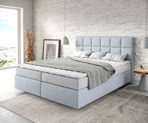 Bett Dream-Fine Pastellblau 160x200 cm mit Matratze und Topper Boxspringbett