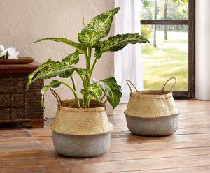 Füllkorb 'Orient' Pflanzer Übertopf Blume Deko, orientalischer Stil,Palmenblatt