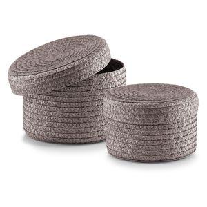 Zeller Korb-Set mit Deckel, 2-teilig ; Form: Rund, Material: Polypropylen ; Farbe: Grau ; Maße (Ø x H): Ø16 cm x 10 cm und Ø 17 cm x 12 cm