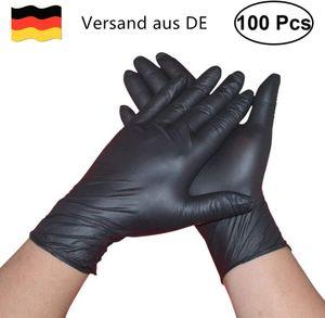 Nitrilhandschuhe 100 Stück Box (L, Schwarz) Einweghandschuhe, Einmalhandschuhe, Untersuchungshandschuhe, Nitril Handschuhe, puderfrei, ohne Latex, unsteril, latexfrei, disposible gloves, black, Medium