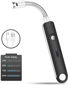 Lichtbogen Feuerzeug,  USB Aufladbares Plasma Feuerzeug Winddichte Flammenlose Elektro Arc Lighter für Yankee Candles Grill  Küche  Herd (Schwarz)