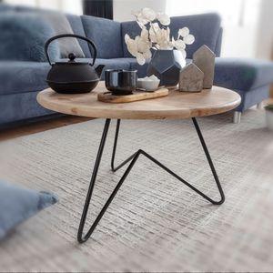 WOHNLING Couchtisch 60x39,5x60 cm Akazie Massivholz / Metall Sofatisch | Design Wohnzimmertisch Rund | Kaffeetisch Massiv | Kleiner Tisch Wohnzimmer