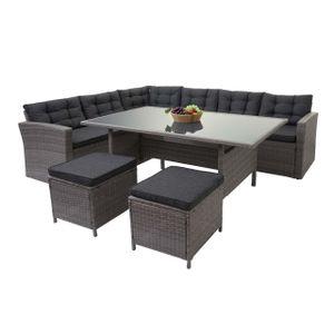 Poly-Rattan-Garnitur HWC-A29, Gartengarnitur Sitzgruppe Lounge-Esstisch-Set Sofa  grau, Kissen grau + 2x Hocker