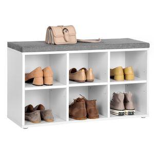 VASAGLE Schuhregal mit 6 Fächern und 3 verstellbaren Ablagen 87 x 30 x 48 cm einfacher Aufbau Schuhbank weiß LHS23WT