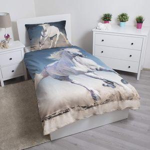Bettwäsche Pferde Motiv Schimmel  70 x 90 cm +  140 x 200 cm, 100 % Baumwolle