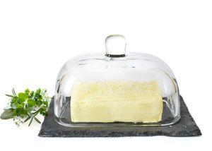 Butterdose auf Schieferplatte Butterglocke Butterschale Kühlschrankbutterdose