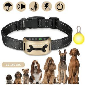 1x Wiederaufladbares Hundetraining Halsband Wasserdicht Safe Hundetrainer Ton Vibration Gold