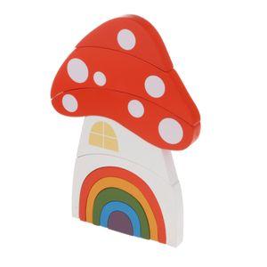 Regenbogen Holz Spielzeug Bausteine Vorschule Montessori Stapelspielzeug Lernen Spielzeug Pädagogische Puzzle für Kinder Baby - Pilz Farbe Pilz
