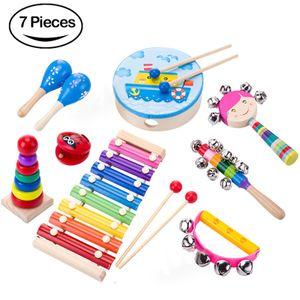 7 Stück Musikspielzeug für Kinder, Orff-Instrumentenset für frühe Bildung, Schlaginstrumente, Musikunterrichtshilfen