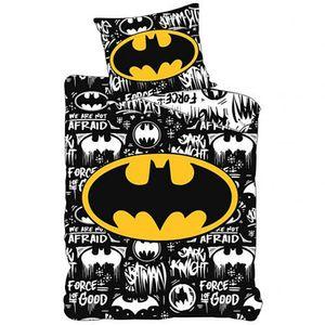 DC Batman Kinder Bettwäsche Set 135x200 80x80 Baumwolle Schwarz n