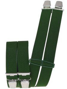 Hosenträger mit 4 extra starken  Clips uni Farben, Farben:grün