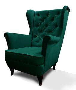 Flasche Grün Ohrensessel FALCO mit Wellenfedern und Abnehmbares Sitzkissen für Zuhause