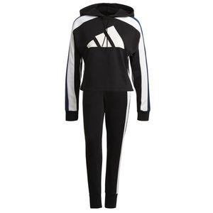 adidas Jogginganzug Damen aus 70% Baumwolle mit Kapuze, Farbe:Schwarz, Damen Größen:S