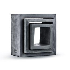 Cander Berlin BW 1525 Cube Regal Schweberegal Würfelregal 3er Set Beton Würfel 25 x 25 x 12 cm Bücherregal Regale Wandregal