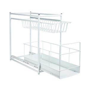 ONVAYA® Küchenregal zum Rausziehen | Einbauschublade | Korbauszug | Schublade | 45 x 23 x 45 cm | Einbauregal Metall | weiß | zum Einbau in Küchenunterschränke | zwei Aufbewahrungskörbe