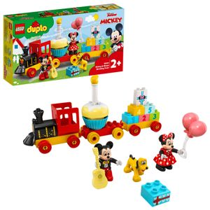 LEGO 10941 DUPLO Disney Mickys und Minnies Geburtstagszug, Spielzeug für Kleinkinder mit Geburtstagstorte und Luftballons
