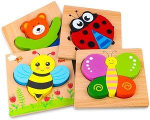 Holzpuzzle, Holzspielzeug ab 1 2 3 Jahren, 4 Stück Steckpuzzle Holz Montessori Spielzeug für Baby, Tier Holzpuzzle Puzzle Kleinkind Lernspielzeug für Kinder