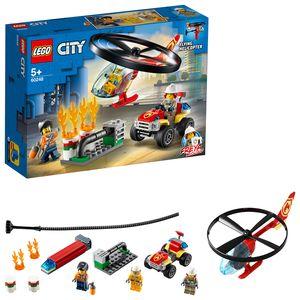 LEGO 60248 City Einsatz mit dem Feuerwehrhubschrauber, fliegendes Feuerwehr Spielzeug ab 5 Jahre, Set mit Hubschrauber und Quad