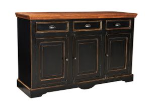 SIT Sideboard | aus Mangoholz und MDF | 3 Schubladen und 3 Türen | schwarz-honigfarben | B 150 x T 40 x H 90 cm | 05803-11 | Serie CORSICA