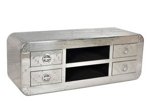 SIT Möbel Lowboard   4 Schubladen, 2 offene Fächer   Mangoholz + MDF mit Alu beschlagen   B 140 x T 45 x H 50 cm   01721-21   Serie AIRMAN