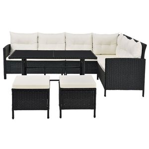 Juskys Polyrattan Lounge Manacor schwarz – Gartenlounge mit Sofa, Tisch, 2 Hocker & Kissen – Gartenmöbel Set bis 7 Personen – Sitzbezüge in Creme
