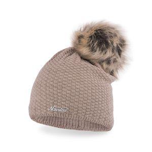 Damen Strickmütze Strick-Beanie mit Bommel, Winter-Mütze, Bommelmütze, Neverless® dunkelbeige unisize