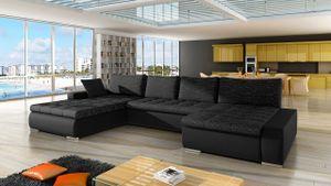 Mirjan24 Ecksofa Caro, U-Form Couch, Eckcouch mit Bettkasten und Schlaffunktion, Polsterecke, Couchgarnitur, Farbauswahl, Bettsofa für Wohnzimmer (Soft 011 + Lawa 06)