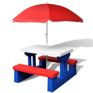 vidaXL Kinder-Picknicktisch mit Bänken Sonnenschirm Mehrfarbig
