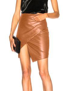 Damen geteilte Tasche Hüfte elastische Taille Rock Lederrock,Farbe: Braun,Größe:L