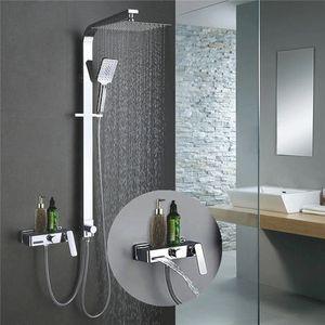 Trennbar Duschsystem mit Messing Duschpaneel Duscharmatur Regendusche mit Armatur Duschset 3 Funktion Dusche für Bad
