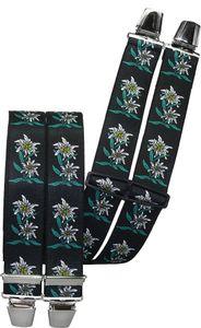 Hosenträger mit 4 extra starken Clips Edelweiß 6 Farben!, Farben:schwarz