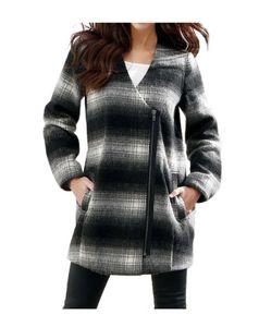 Laura Scott Damen Woll-Jacke Schwarz mit großen Taschen, Größe:38