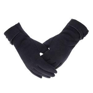 Bequeme weiche Touchscreen Winddichte warme Winterhandschuhe für Damen Lady Schwarz 23,5 cm