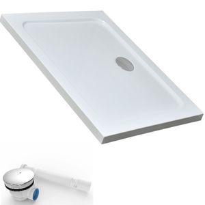 70x100x4 cm   Duschtasse Duschwanne aus Acryl inkl. Ablaufgarnitur ALG01 mit flexiblem Schlauch   in hochglanz weiß   Ablaufdurchmesser 90mm DT70/100 ALG01