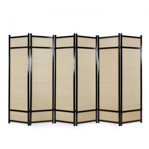 Homestyle4u 388, Paravent Raumteiler 6 teilig, Holz Braun, Bambus Natur