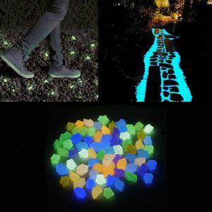 300 Stück Leuchtsteine Garten, Bunt Fluoreszierende Leuchtende Outdoor Steine Kieselsteine Deko Fluoreszierende Kieselsteine für Aquarien, Landschaftsdekoration, Topfpflanzen