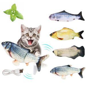 Katzenspielzeug mit Katzenminze, Simulation Elektrisch Spielzeug Fisch mit USB Charge, Kauen Spielzeug für Katze zu Spielen, Beißen, Kauen