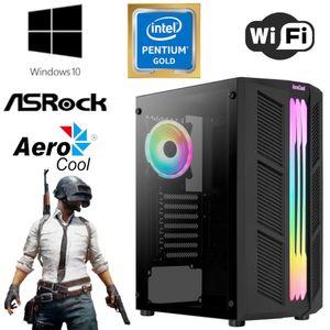 GAMING PC für Einsteiger - Intel Pentium Gold G6400 4 Threads 4,0GHz, Intel UHD 610, 8 GB RAM, 256 GB SSD - WLAN - RGB - Aerocool Gehäuse mit Echtglas