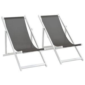 Klappbarer Strandstuhl 2 Stk. Aluminium und Textilene Grau - Balkonstuhl Terrassenstuhl Relaxstuhl Liegestuhl