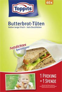 Toppits Butterbrot-Tüten 60 x Fettdichtes Spezialpapier