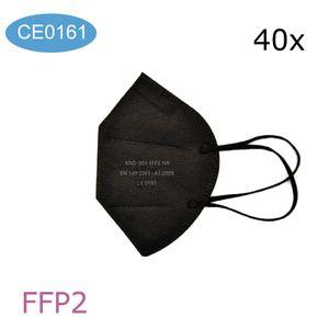 40 Stück Echte preiswerte FFP2-Maske, CE-0161 fünfschichtige Schutzmaske, Mundschutz gege , filter, 95% Filterschutzmaske schwarz