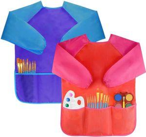2Pcs Malschürze Kinder Malkittel Bastelschürze 2-8 Jahre Langarm mit Klettverschluss (Blau & Rot)